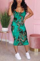 Green Polyester Fashion Celebrities adult Red Green Light Blue Tank Sleeveless Slip A-Line Mid-Calf Print Patchwork Dresses