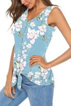 Light Blue Polyester V Neck Sleeveless asymmetrical Print Button Floral  Sweaters & Cardigans
