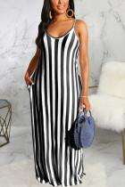 Black Polyester Fashion Sexy Black Blue Pink Spaghetti Strap Sleeveless V Neck Swagger Floor-Length Striped Dresses