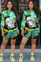 Green knit Fashion Sexy adult Ma'am Patchwork Print Tie Dye Two Piece Suits Straight Long Sleeve Two Pieces