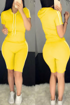 Yellow Polyester Fashion Sexy Solid Two Piece Suits pencil Short Sleeve Two Pieces