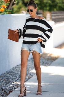 Black and white knitting O Neck Long Sleeve Patchwork Striped  Sweaters & Cardigans