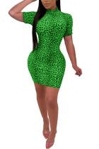 Green Milk. Lightly cooked Cap Sleeve Short Sleeves O neck Step Skirt skirt Print Leopard  Casual Dresses