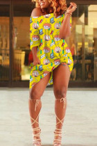 Yellow Cotton Fashion Sexy One Shoulder Half Sleeves one shoulder collar Step Skirt Knee-Length Print Dresses