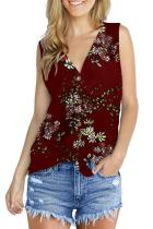 Red Polyester V Neck Sleeveless asymmetrical Print Button Floral  Sweaters & Cardigans