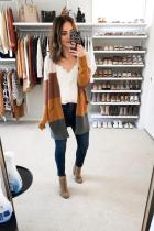 Yellow cardigan Patchwork Striped Polyester Striped Long Sleeve  cloak