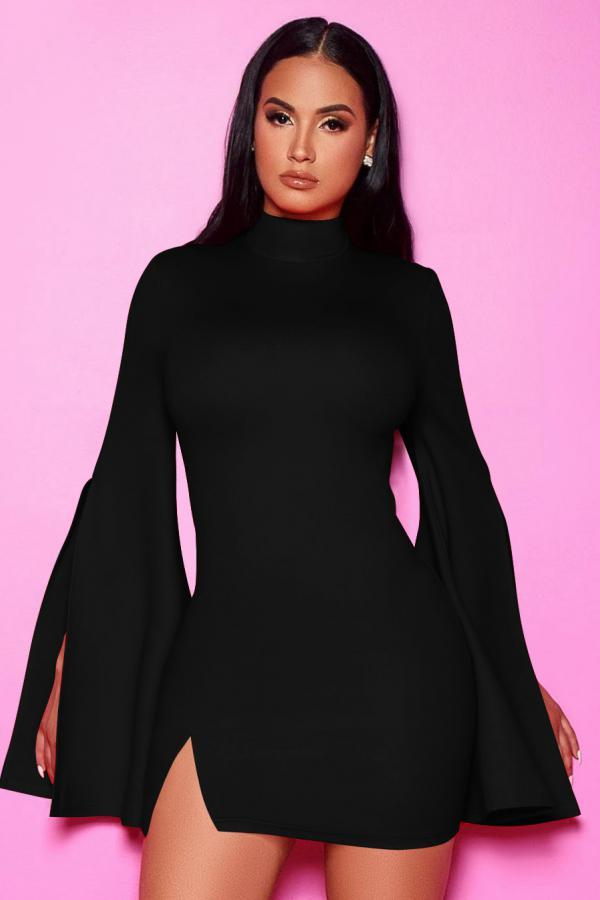 Black Polyester Fashion Sexy adult Bell sleeve Long Sleeves Turtleneck Step Skirt Mini split Patchwork Sol
