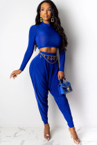 Blue Polyester Sexy Two Piece Suits Solid pencil Long Sleeve  Two-piece Pants Set
