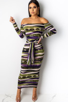 Green Polyester OL Cap Sleeve Long Sleeves One word collar Hip skirt Ankle-Length Striped  Club Dresses