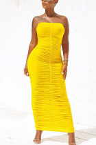 Yellow Fashion Solid Fold Strapless Step Skirt Dresses