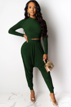 Black Green Polyester Sexy Two Piece Suits Solid pencil Long Sleeve  Two-piece Pants Set