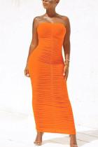 Orange Fashion Solid Fold Strapless Step Skirt Dresses
