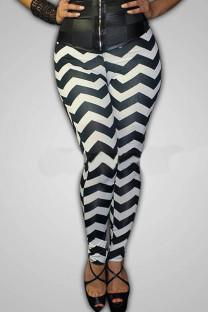 multicolor Elastic Fly Mid Striped pencil Pants Leggings