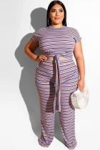Stripe Spandex Polyester Sexy Fashion adult O Neck Print Two Piece Suits Striped Bandage