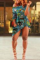 Dark green Cotton Fashion Sexy One Shoulder Half Sleeves one shoulder collar Step Skirt Knee-Length Print Dresses