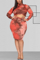Red Polyester Fashion Sexy adult O Neck Patchwork Print Tie Dye Two Piece Suits Stitching Plus Size