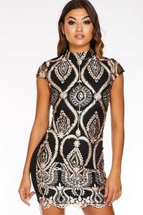 As Show Polyester Celebrities Cap Sleeve Short Sleeves O neck Step Skirt skirt Patchwork Print