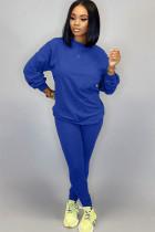 Blue venetian Street Two Piece Suits Solid Patchwork pencil Long Sleeve  Two-piece Pants Set