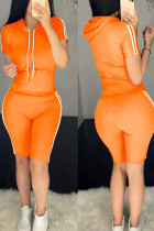 Orange Polyester Fashion Sexy Solid Two Piece Suits pencil Short Sleeve Two Pieces