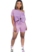 purple Polyester Fashion Casual adult Ma'am Patchwork Solid Two Piece Suits pencil Short Sleeve Two Pieces
