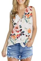 White Polyester V Neck Sleeveless asymmetrical Print Button Floral  Sweaters & Cardigans