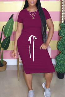 fuchsia Polyester Fashion Sweet Red Black Grey Blue Green Pink Yellow Light Blue fuchsia Light Green Cap Sleeve Short Sleeves O neck Pencil Dress Mid-Calf Solid Dresses