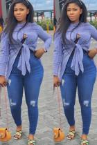 Blue Polyester Mandarin Collar Long Sleeve asymmetrical Plaid Button Bandage  Blouses & Shirts