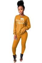 Yellow Polyester Celebrities Two Piece Suits Print pencil Long Sleeve  Two-piece Pants Set