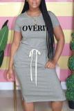 Pink Fashion Casual O Neck Letter Print Belt Plus Size