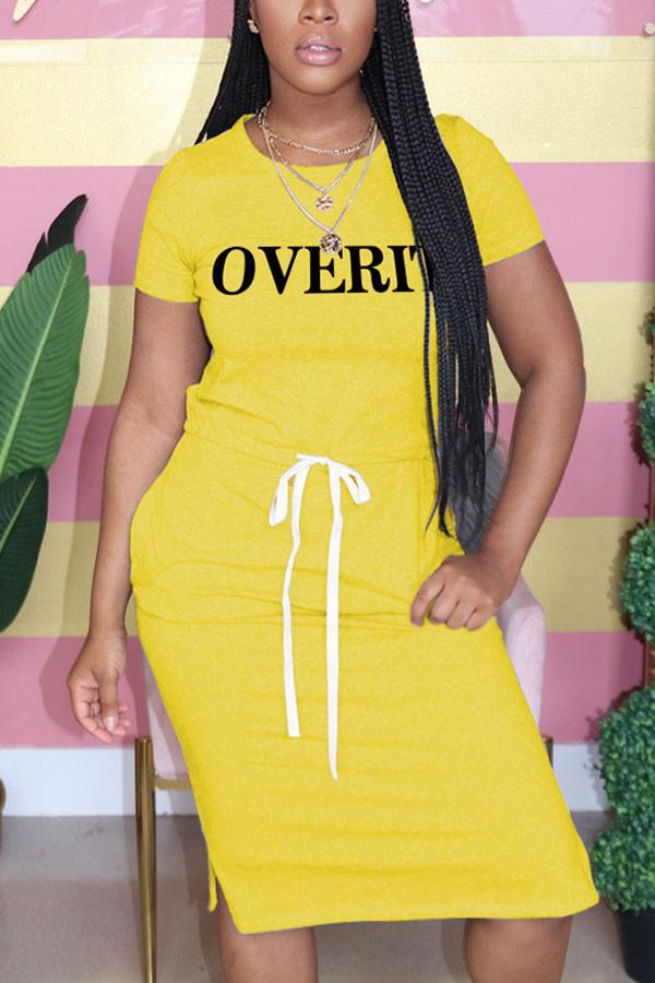 Yellow Fashion Casual O Neck Letter Print Belt Plus Size