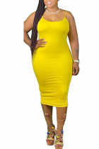 Yellow Polyester Fashion Casual adult Ma'am Red Grey Blue Pink Orange Yellow Spaghetti Strap Sleeveless Slip Pencil Dress Mid-Calf Solid Dresses