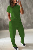 Green Polyester Fashion Casual adult Ma'am Patchwork Solid Two Piece Suits Straight Short Sleeve Two Pieces