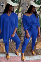 Blue Polyester OL Solid Short Sleeve Two Pieces
