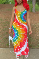 Red Polyester Fashion Sexy adult Ma'am Red Blue Yellow Spaghetti Strap Sleeveless Slip Swagger Ankle-Length Print Tie and dye Dresses