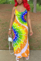 Yellow Polyester Fashion Sexy adult Ma'am Red Blue Yellow Spaghetti Strap Sleeveless Slip Swagger Ankle-Length Print Tie and dye Dresses