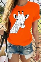Orange White Red Black Grey Orange Navy Blue Cotton O Neck Short Sleeve Print TOPS