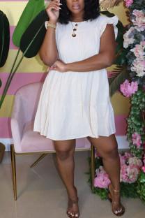 White Sweet Ruffled Sleeve Sleeveless O-neck Cake Dress Knee-Length Solid Dresses