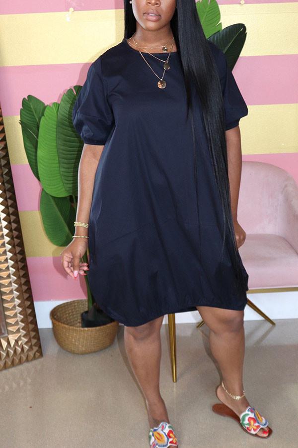 Navy Blue Casual  Bubble sleeves Short Sleeves O neck Lantern skirt Knee-Length Solid Dresses