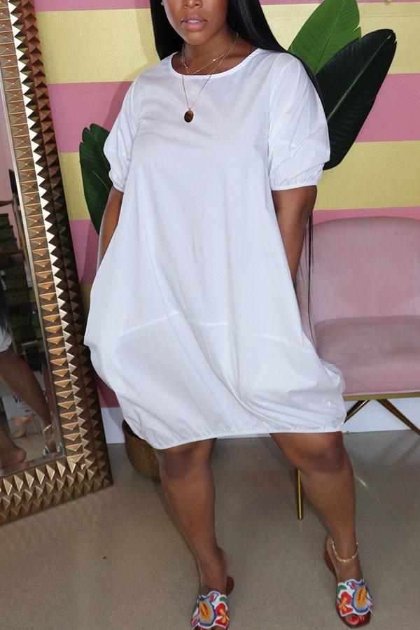 White Casual  Bubble sleeves Short Sleeves O neck Lantern skirt Knee-Length Solid Dresses