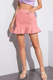 Pink Denim Zipper Fly Mid Solid ruffle Hip skirt shorts BOTTOMS