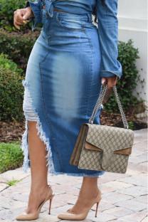 Light Blue Polyester Zipper Fly Mid Tassel Hip skirt Capris BOTTOMS