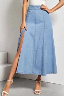 Blue Denim Button Fly Mid Solid A-line skirt Capris BOTTOMS