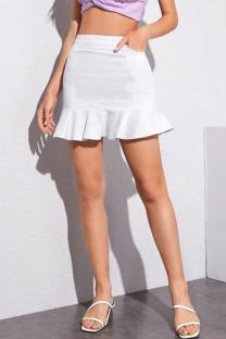 White Denim Zipper Fly Mid Solid ruffle Hip skirt shorts BOTTOMS