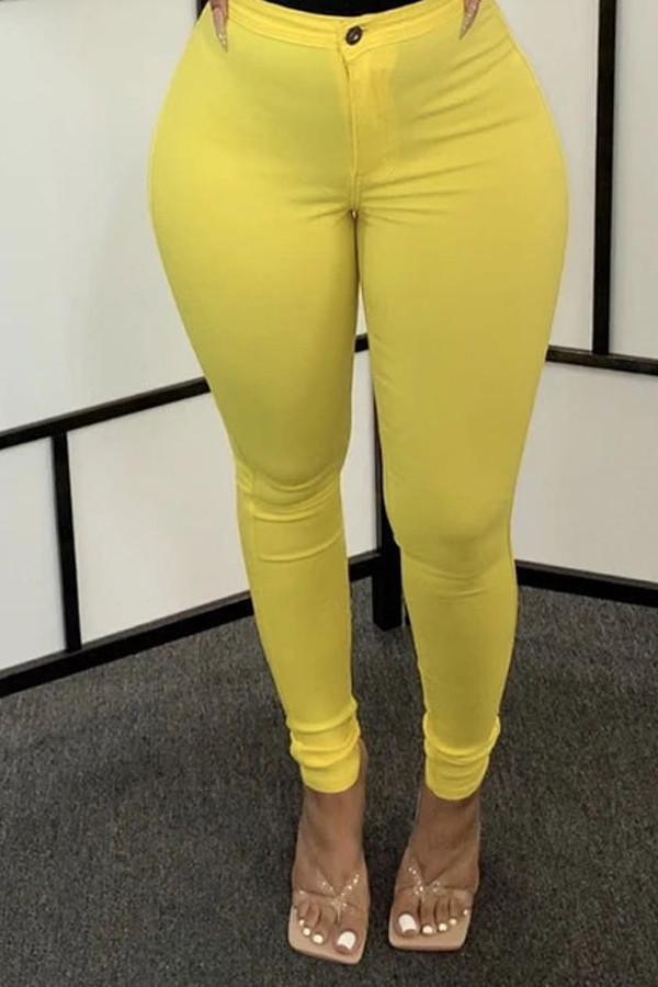 Yellow Denim Zipper Fly Mid Solid washing pencil Pants Bottoms