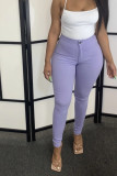 Pink Denim Zipper Fly Mid Solid washing pencil Pants Bottoms