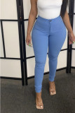 Blue Denim Zipper Fly Mid Solid washing pencil Pants Bottoms