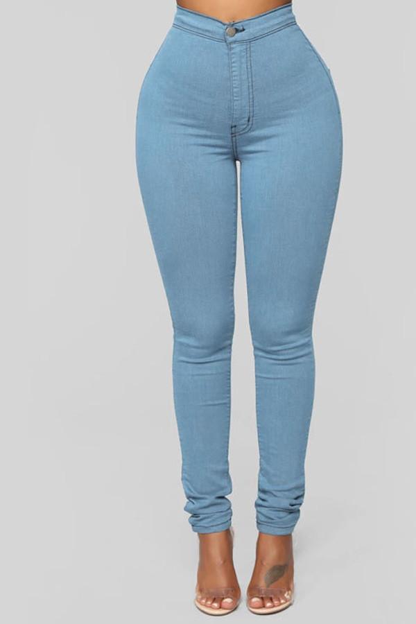 Light Blue Denim Zipper Fly Mid Solid washing pencil Pants Bottoms
