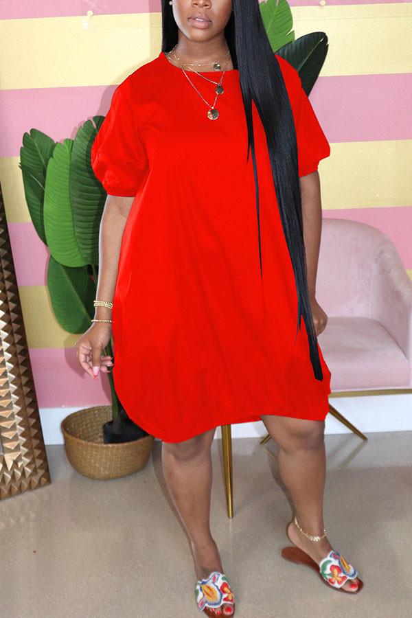 tangerine Casual  Bubble sleeves Short Sleeves O neck Lantern skirt Knee-Length Solid Dresses