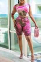 Pink Polyester Sexy O Neck Print Pearl Pattern Plus Size