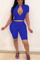 Blue Polyester Fashion Sexy adult Ma'am Solid Two Piece Suits pencil Short Sleeve Two Pieces